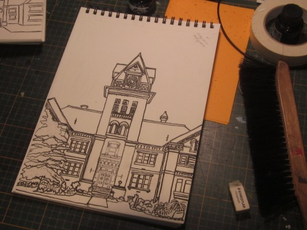 Re-worked sketch with black Ink