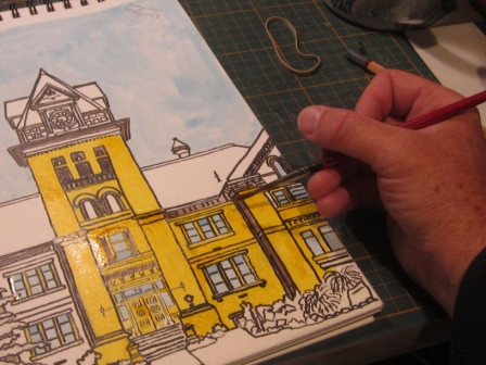 Adding colour inks to the sketch