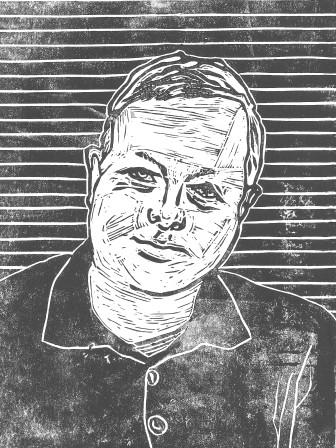 Self-portrait - Lino Print on Paper