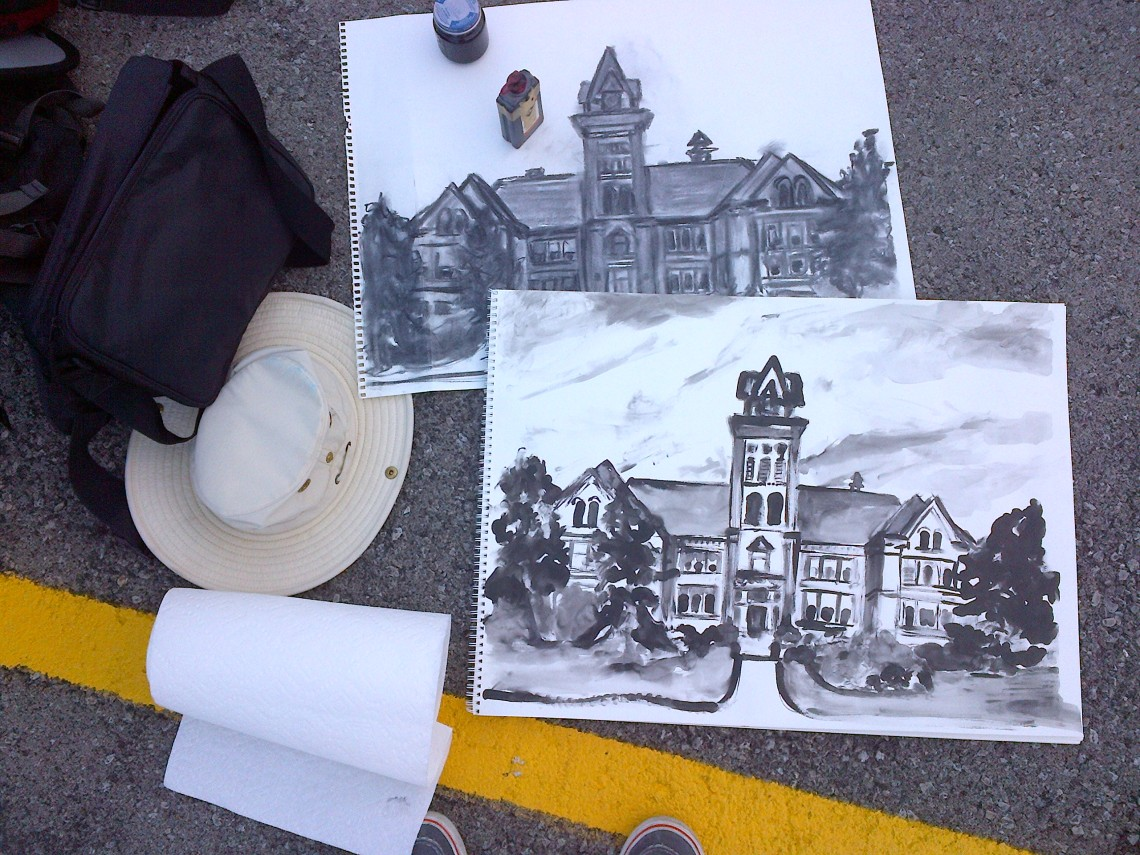 Warm-up charcoal sketch and chinese ink sketch of the 1853 Central Public School, located in Hamilton, Ontario.