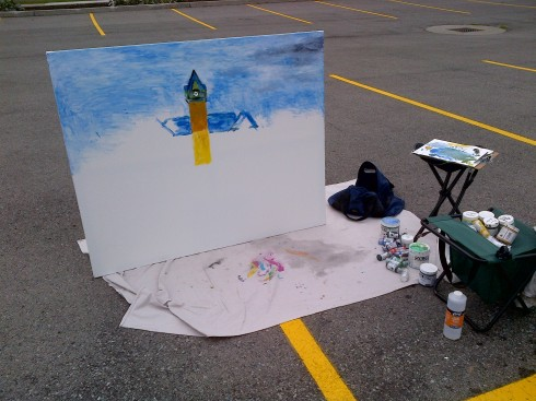 the beginning of an acrylic finger painting of the 1853 Central Public School, located in Hamiton (Ont).