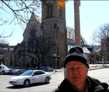 Filming outside St. Patrick's Church, Hamilton (Ontario)