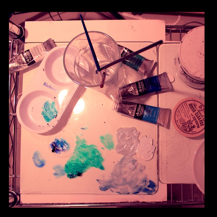 Paint Mixing, Studio Work. Photo by @erskinec