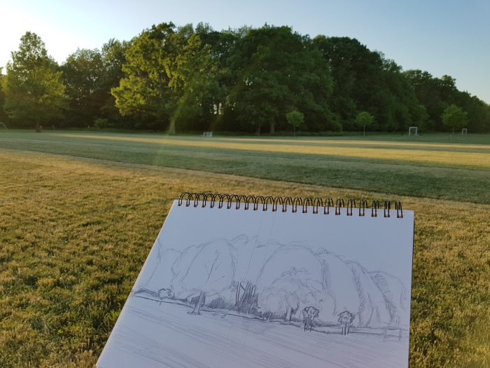 Sketch of Ghost Tree Landscape, Churchill Park, Hamilton (Ont).  Photo taken on June 17th, 2016
